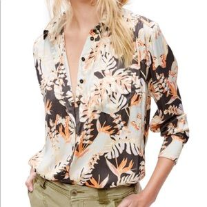 Free People Tropical Monstera Print Shirt Top S